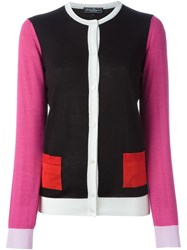 Salvatore Ferragamo Colour Block Cardigan Black