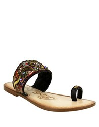 Naughty Monkey Adella Mulle Beaded Leather Sandals Black