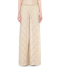 Missoni Wide High Rise Metallic Knit Trousers Gold