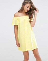 Asos Off Shoulder Swing Sundress In Yellow Ditsy Print Yellow