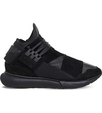 Adidas Y3 Qasa High Top Trainers Black Mono Leather