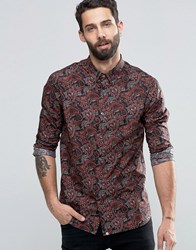 Pretty Green Shirt With All Over Paisley Print In Slim Fit Black