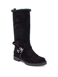 Fendi Shearling Fur Lined Suede Boots Black