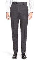 Armani Collezioni Men's Flat Front Check Wool Trousers Grey