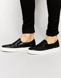 Bronx Leather Slip On In Snake Print Black