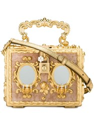 Dolce And Gabbana Baroque Box Clutch Metallic