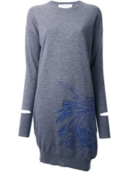 Stella Mccartney Embroidered Sweater Dress Grey