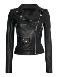 Replay Studded Leather Jacket Black