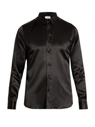 Saint Laurent Button Cuff Silk Satin Shirt Black