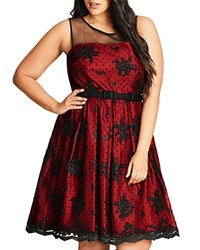 City Chic Ruby Floral Dot Mesh Dress Red Crimson