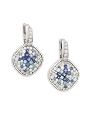 Plev Diamond Blue Sapphire And 18K White Gold Cushion Drop Earrings