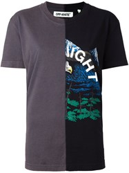 Off White Contrast Patchwork T Shirt Black