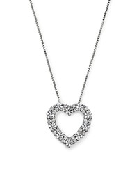 Bloomingdale's Diamond Heart Pendant Necklace In 14K White Gold 1.0 Ct. T.W.