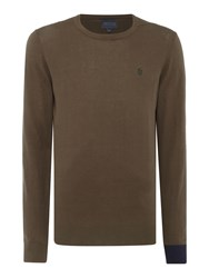 Perry Ellis College Crew Neck Contrast Cuff Jumper Charcoal