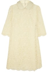 Dolce And Gabbana Patent Leather Trimmed Guipure Lace Dress White