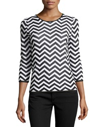 Paperwhite Three Quarter Sleeve Chevron Striped Sweater White Black