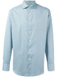 Canali Cell Checked Shirt Green