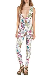 Missguided Women's Tropical Print Plunge Jumpsuit Multi