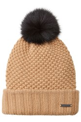 Burberry Shoes And Accessories Wool Cashmere Hat With Fox Fur Pompom Brown