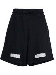 Off White Stripe Print Sweat Shorts Black