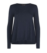 Peserico Scattered Crystal Sweater Female Navy