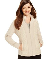 Style And Co. Sport Petite Mixed Media Zip Up Track Jacket Only At Macy's White Truffle