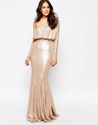 Forever Unique Tempest Sequin One Shoulder Maxi Dress Nude Beige