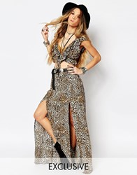 Reclaimed Vintage High Rise Maxi Skirt With Front Splits In Leopard Print Multi