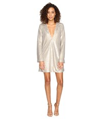 The Jetset Diaries Gold Diamond Long Sleeve Dress Gold Sequin Women's Dress