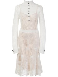 Derek Lam Mesh Overlay Shirt Dress White