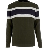 River Island Mens Dark Green Block Stripe Jumper