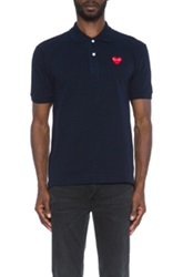 Comme Des Garcons Play Cotton Polo With Red Emblem In Blue