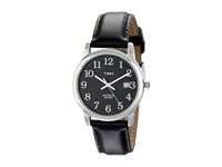 Timex Classic Ezread Analog Silver Case Black Leather Strap Watch Silver Watches