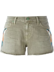 Sandrine Rose Embroidered Detail Denim Shorts Green