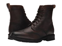 Frye James Lug Wingtip Boot Dark Brown Wp Soft Pebbled Full Grain Men's Lace Up Boots