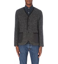 Junya Watanabe Elbow Patch Knitted Cardigan Charcoal