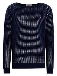 Louche Onie Sheer Stripe Jumper Navy