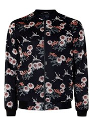 Topman Black Floral Print Smart Bomber Jacket Blue