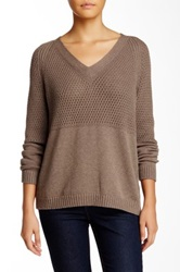 Lafayette 148 New York Pullover Honeycomb V Neck Sweater Brown