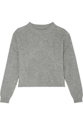 Frame Le Cropped Ribbed Cashmere Sweater Gray