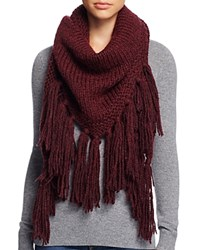 Fraas Cable Knit Triangle Scarf Wine