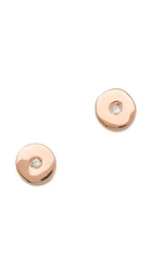 Ariel Gordon Jewelry Mini Circle Stud Earrings Rose Gold Diamond