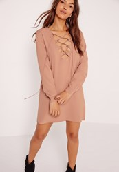 Missguided Scallop Front Lace Up Shift Dress Nude Beige