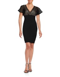 Jessica Simpson Lace Top Flutter Sleeve Sheath Dress Black