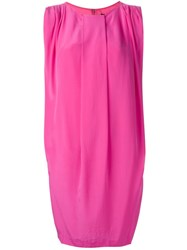 Unconditional Front Pleat Shift Dress Pink And Purple