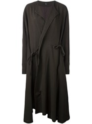 Y's Wrap Detail Oversized Coat Brown
