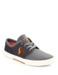 Polo Ralph Lauren Colorblocked Lace Up Canvas Sneakers Charcoal
