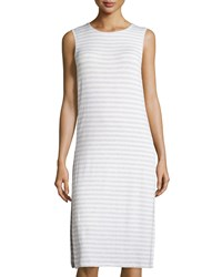 Neiman Marcus Sleeveless Double Layer Striped Jersey Dress Heather Gray