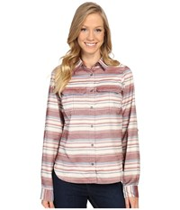 Columbia Pilsner Lodge Stripe Long Sleeve Shirt Marsala Red Stripe Women's Long Sleeve Button Up