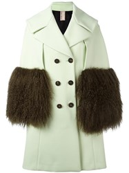 Antonio Marras Double Breasted Fur Sleeve Coat Green